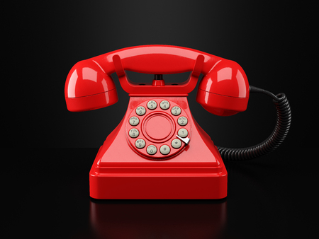 vintage phone: Red vintage phone on black background. Hotline concept 3d Stock Photo