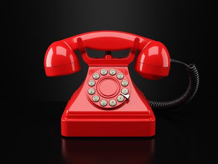 vintage phone: Red vintage phone on black background. Hotline concept 3d Stock Photo