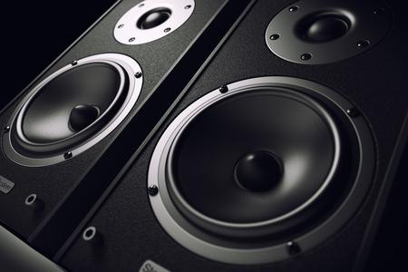 sonido: altavoces de sonido de primer plano. sistema de audio estéreo. 3d