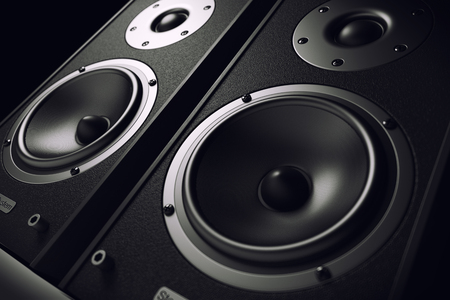 sound box: Sound speakers close-up. Audio stereo system. 3d