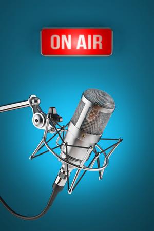 Studio microphone stand on background sign light ON AIR Standard-Bild