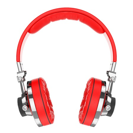 hifi: Red Hi-Fi professional headphones isolated on white background 3d