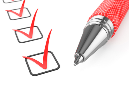 Red pen on checklist isolated on white background 3d Banco de Imagens