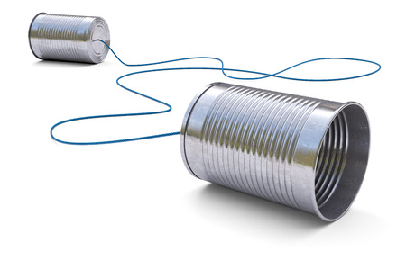Tin cans telephone isolated on white background 3d Banque d'images