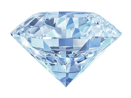 Blue diamond isolated on white background 3d Фото со стока