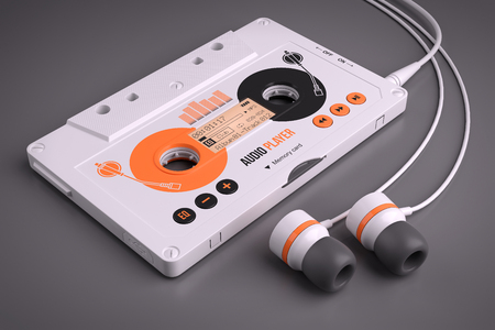 portable player: Mp3 portable musical casette player. Concept 3d Stock Photo
