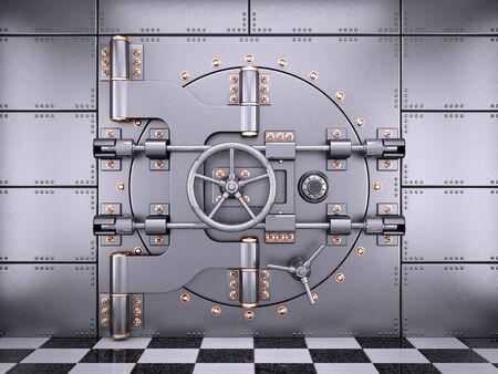 strenght: Vault safe bank door in banking room 3d