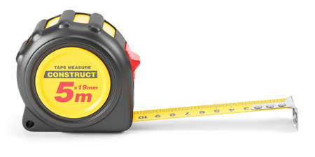 mesure: Yellow tape mesure tool. Illustration 3d Stock Photo