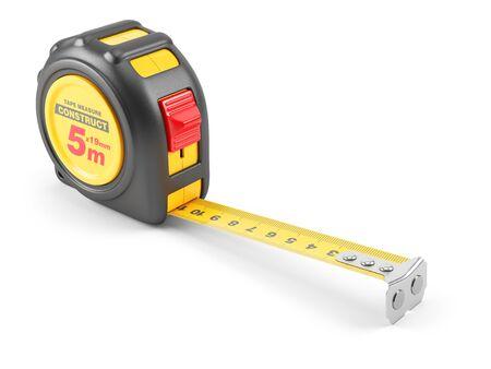 cinta metrica: herramienta de cinta de medir amarilla. ilustración 3d