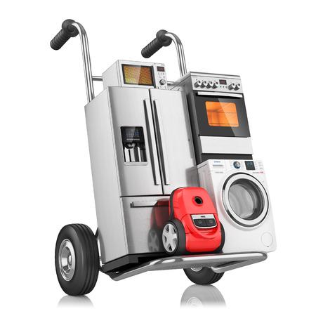 Huishoudelijke apparaten op winkelwagen, die op witte achtergrond 3D Stockfoto