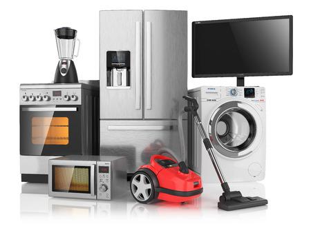 Set van huishoudelijke keukenapparatuur, geïsoleerd op een witte achtergrond 3D Stockfoto