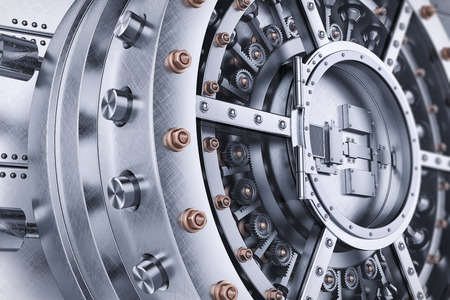 caja fuerte: bóveda bancaria mecanismo de la puerta abierta segura 3D detallada Foto de archivo