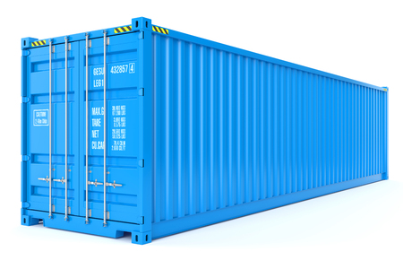 Blue cargo container isolated on white background 3d Archivio Fotografico