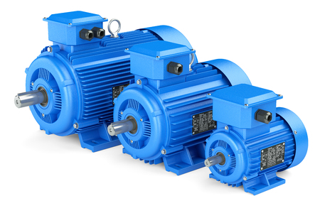 metal gears: Group of blue electric industrial motors. Isolated on white background 3d