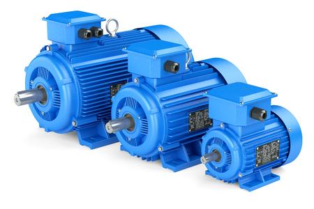 elektrizit u00e4t: Gruppe der blauen elektrischen Industriemotoren. Isoliert auf weißem Hintergrund 3D