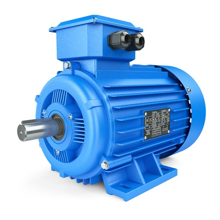 alternator: Blue electric industrial motor. Isolated on white background 3d