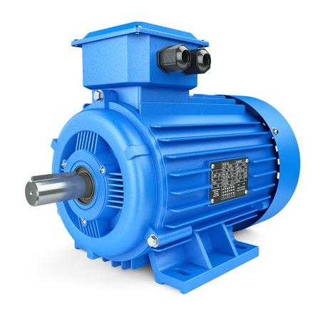 motor eléctrico industrial azul. Aislado en el fondo blanco 3d Foto de archivo