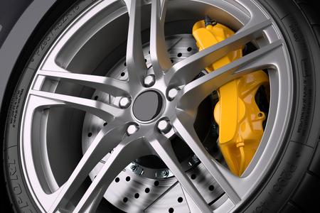 El sistema de frenos de un coche deportivo. De cerca. 3d ilustración Foto de archivo - 57126025