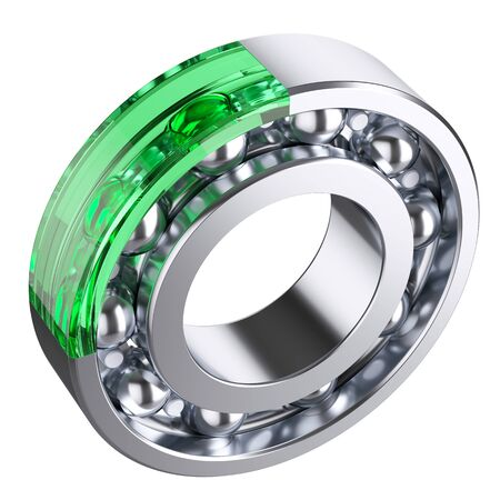 ball bearing: Ball bearing with cut form green glass fragment. Isolated white background 3d
