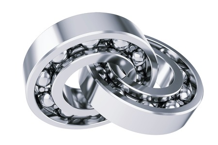 mechanical back: Intersecting ball bearings. Isolated on white background 3d Stock Photo