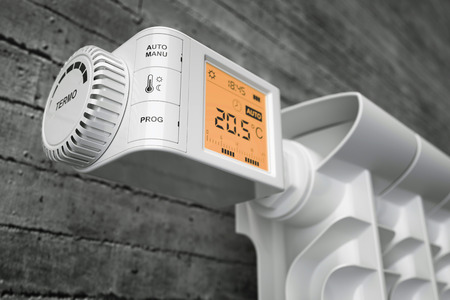thermostat: Radiator thermostat controller on heater. Closeup. 3d illustration Stock Photo