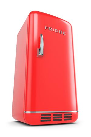 Red retro fridge isolated on white background 3d Stock Photo