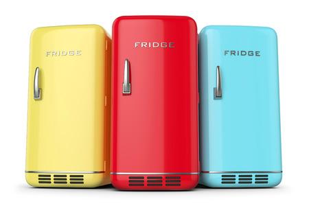Kühlschrank Farbig Retro : Red retro kühlschrank isoliert auf weißem hintergrund 3d lizenzfreie