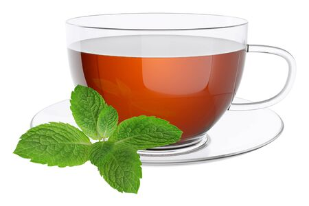 white tea: Cup tea and leaves of mint. Isolated on white background 3d Stock Photo