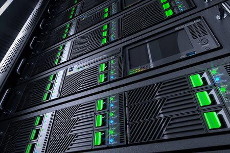 it tech: Server rack panels in data center. 3d illustration