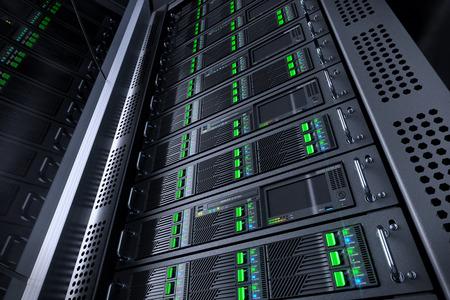 Server rack database. Telecommunication equipment. 3d illustration