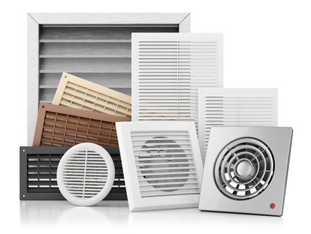 Set of ventilation grilles isolated on white background 3d 스톡 콘텐츠