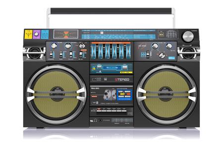 Retro registratore a cassette isolato su sfondo bianco 3d