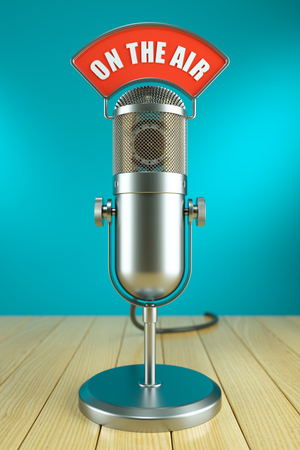 dubbing: Studio microphone stand. On the AIR radio concept 3d