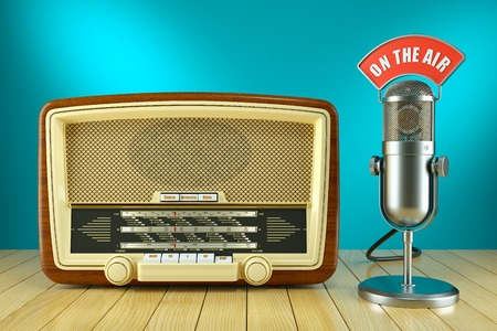 old time: Retro radio and studio microphone. ON THE AIR concept 3d