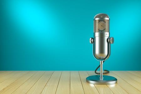 Studio microfoonstandaard. Op de lucht radio concept 3D