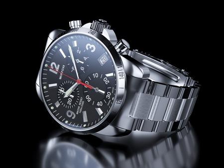 cronógrafo: S de los hombres reloj de pulsera de cromo sobre fondo negro. 3d ilustración Foto de archivo
