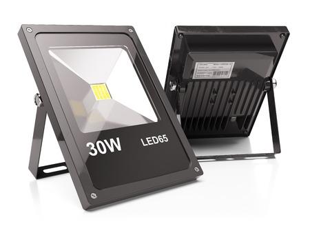 alumbrado: Grupo de los reflectores llevados aislado en el fondo blanco 3d