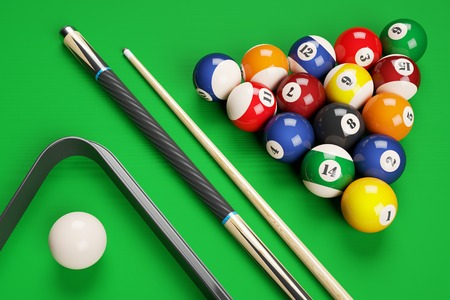 cues: Group of billiard colored balls, cues and triangle on green table. Top view. 3d illustration