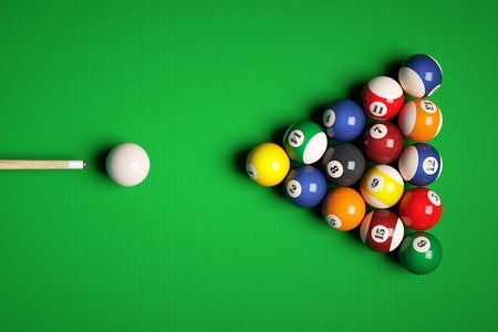 snooker cue: Cue aim billiard snooker pyramid on green table. 3d illustration Stock Photo