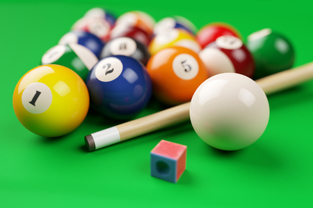Group of billiard colored balls, cue and chalk on green table. 3d illustration