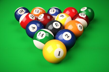 pocket billiards: Pyramid balls pool billiard on green table. 3d illustration Stock Photo