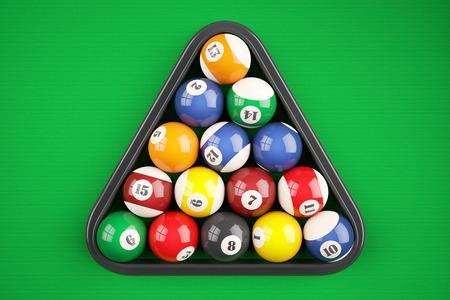 Pyramid balls pool billiard on green table. Top view. 3d illustration