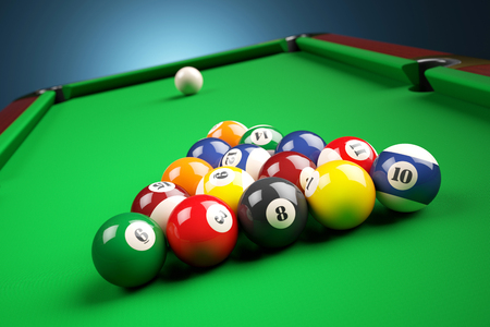 Snooker billiard pyramid on green table. 3d illustration Stock Photo