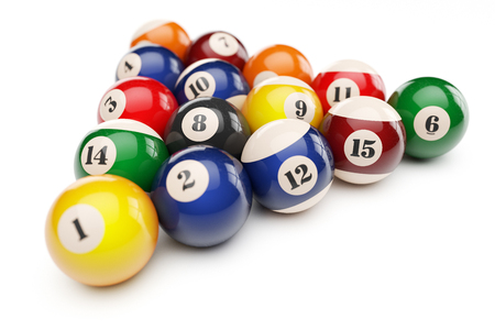 Pool billiard balls pyramid isolated on white background 3d Stock Photo
