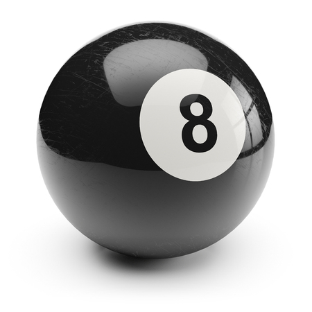 pool player: Billiard black eight ball. Isolated on white background 3d Stock Photo