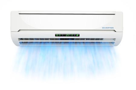 aire puro: acondicionador de aire con flujo de aire frío azul aislado en el fondo blanco 3d Foto de archivo