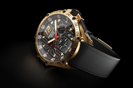 chronograph: Golden luxury wristwatch with black clock face on black background 3d
