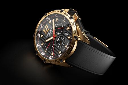 acero: reloj de pulsera de lujo de oro con esfera del reloj negro sobre fondo negro 3d Foto de archivo