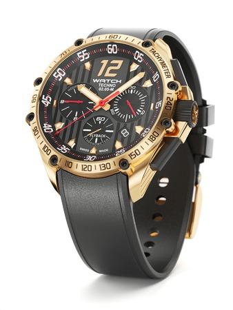 cronógrafo: reloj de pulsera de lujo de oro con la cara de reloj negro y mitón del caucho en el fondo blanco 3d