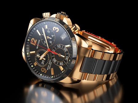 cronógrafo: S de los hombres reloj de pulsera de oro sobre fondo negro. 3d ilustración Foto de archivo